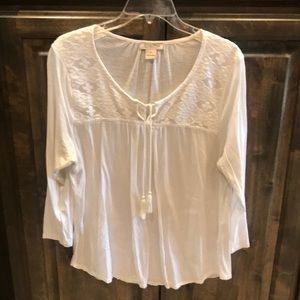 Lucky Brand Ivory Peasant Tassel Top L $79!!